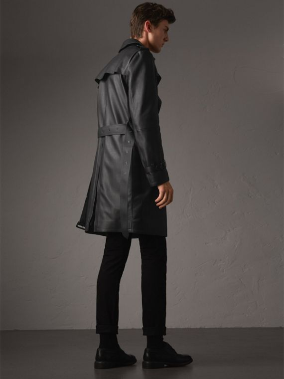 Lambskin Trench Coat in Black - Men | Burberry - cell image 2
