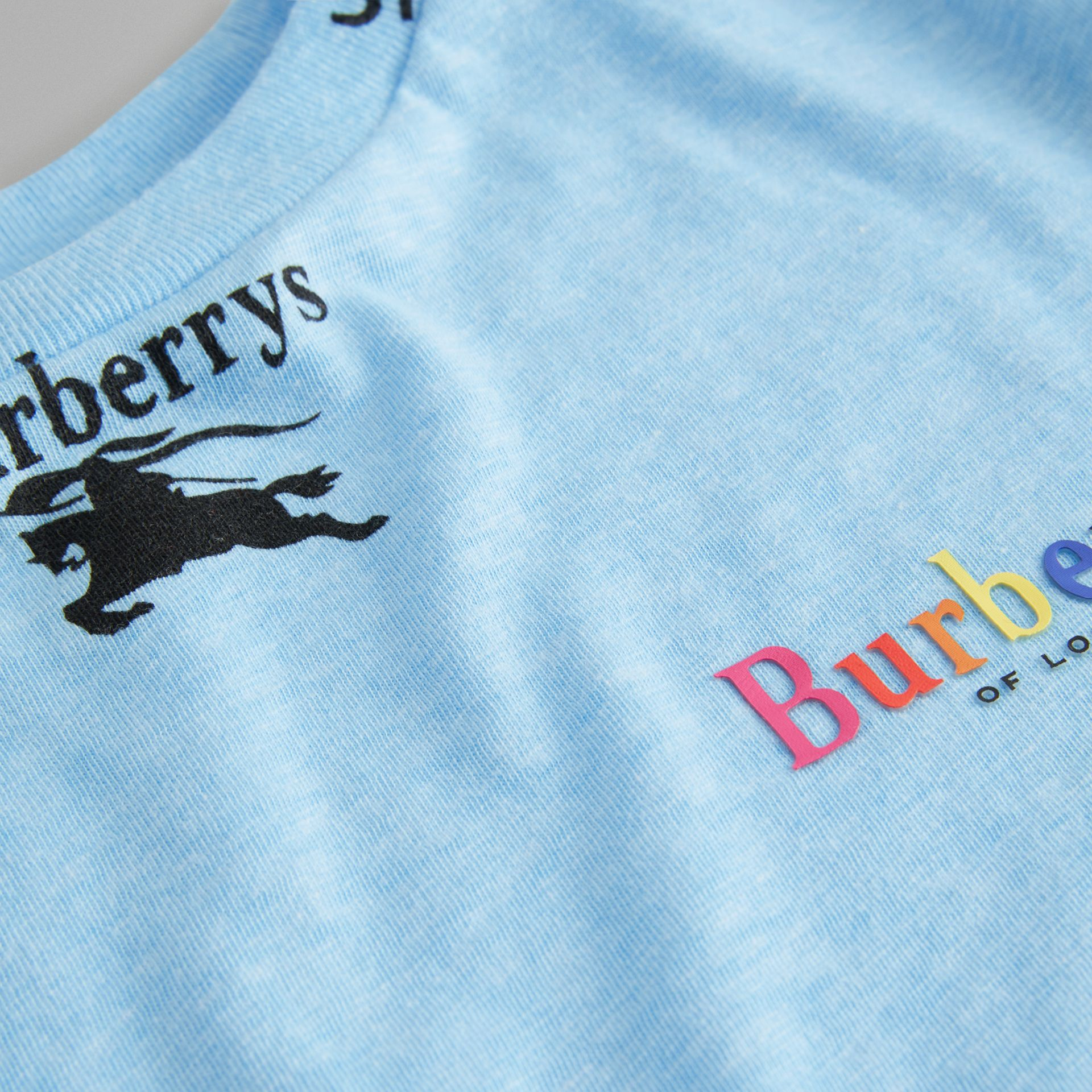 Archive Logo Print Jersey T-shirt in Sky Blue - Boy | Burberry - gallery image 1