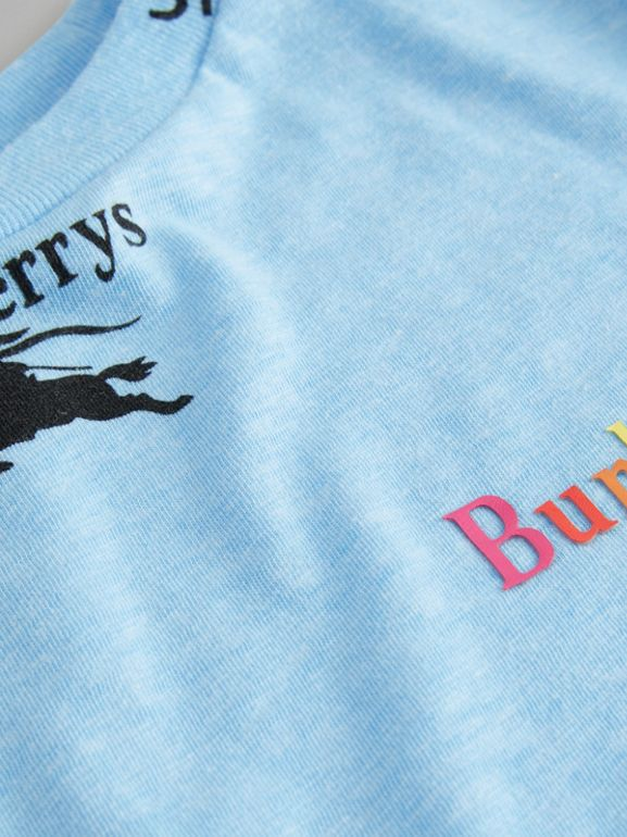 Archive Logo Print Jersey T-shirt in Sky Blue - Boy | Burberry - cell image 1