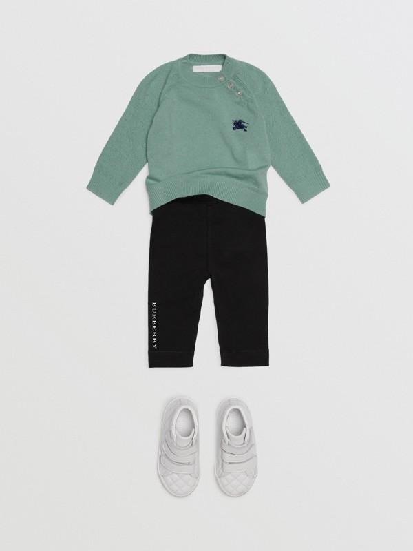 Logo Detail Stretch Cotton Leggings in Black - Children | Burberry - cell image 2