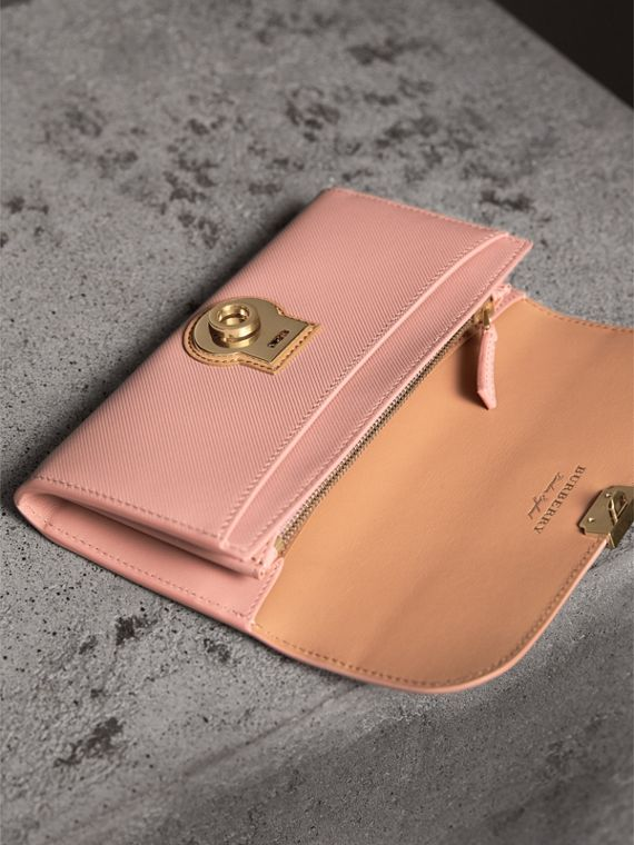 Two-tone Trench Leather Continental Wallet in Ash Rose/pale Clementine - Women | Burberry Canada - cell image 3