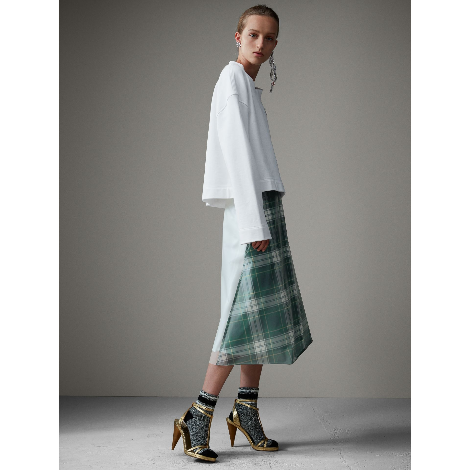 Silk-lined Tartan Plastic A-line Skirt in Green - Women | Burberry - gallery image 5