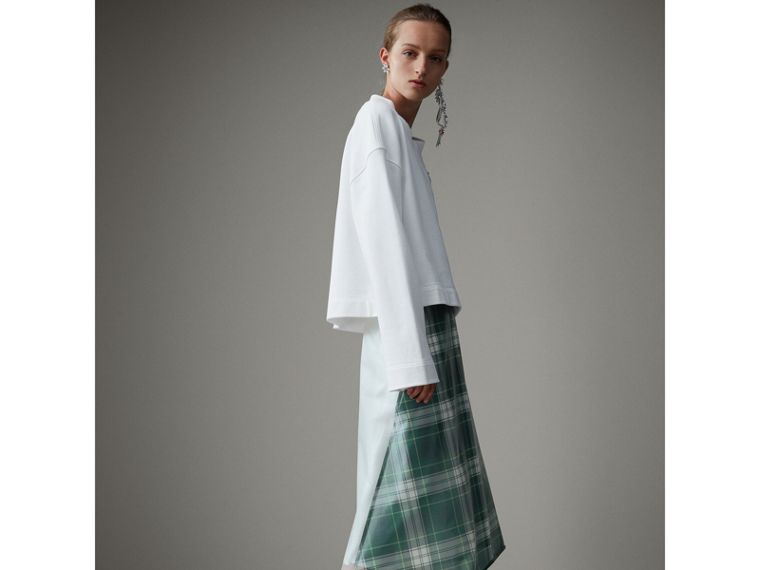 Silk-lined Tartan Plastic A-line Skirt in Green - Women | Burberry - cell image 4