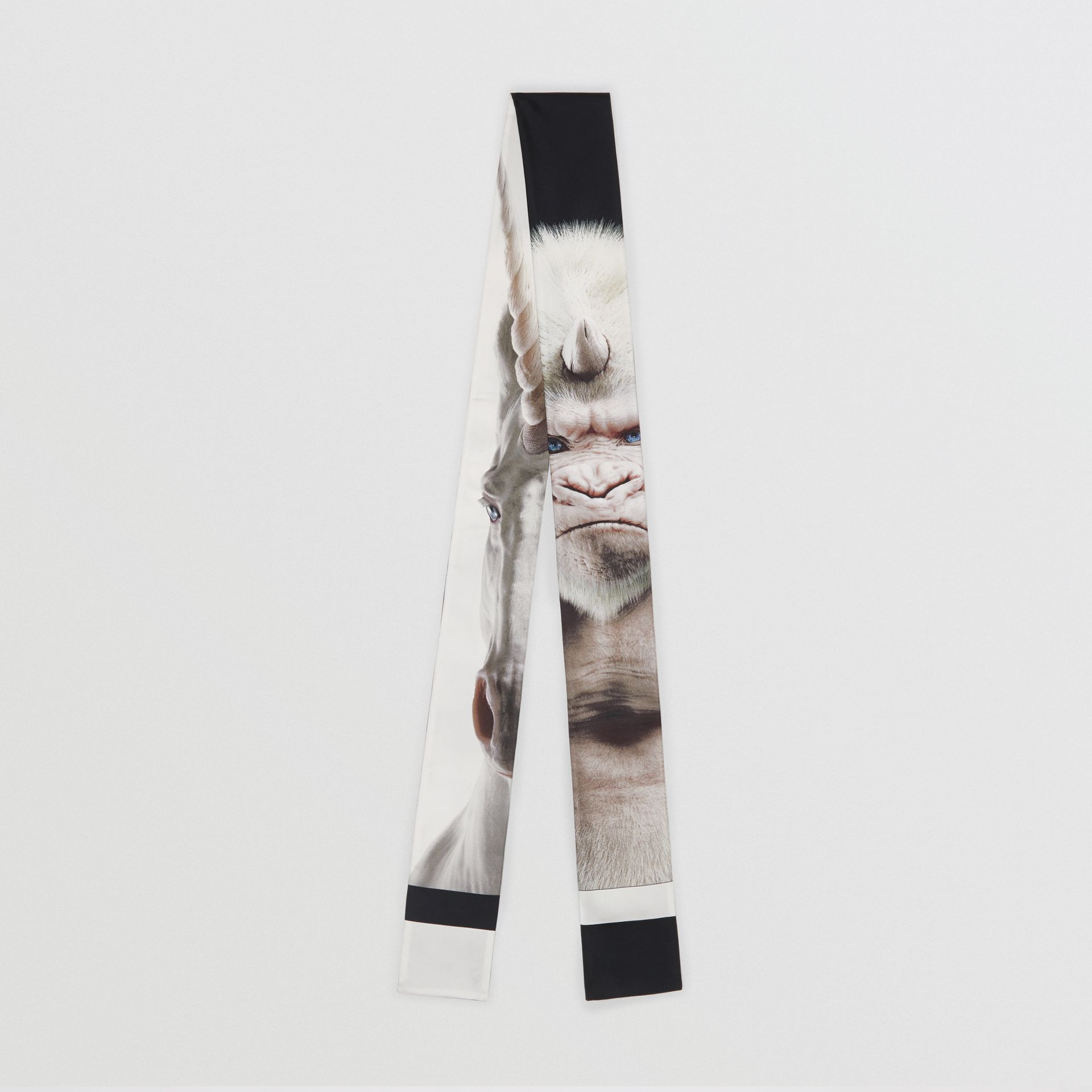 Montage Print Silk Skinny Scarf in White | Burberry - gallery image 0
