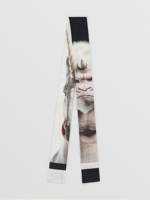 Montage Print Silk Skinny Scarf in White