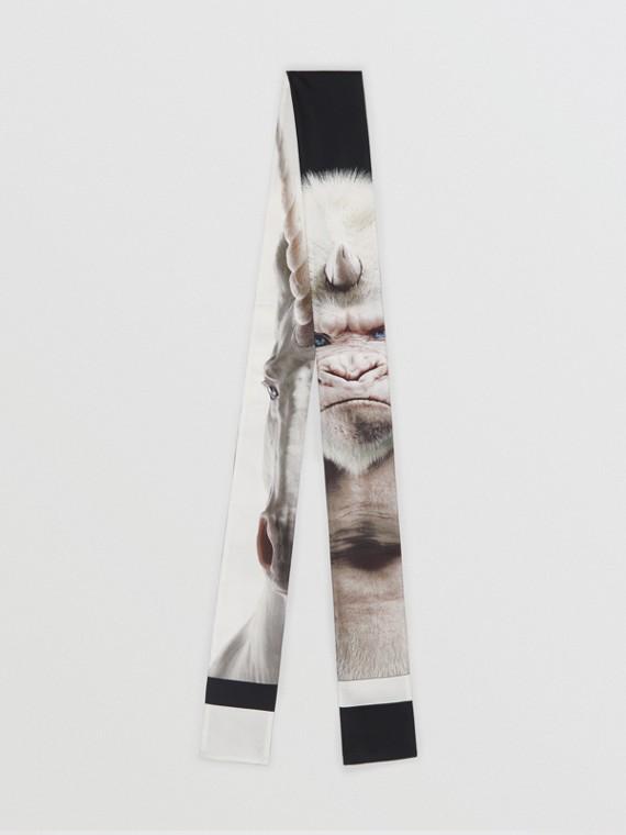 Skinny scarf de seda com estampa de montagem (Branco)