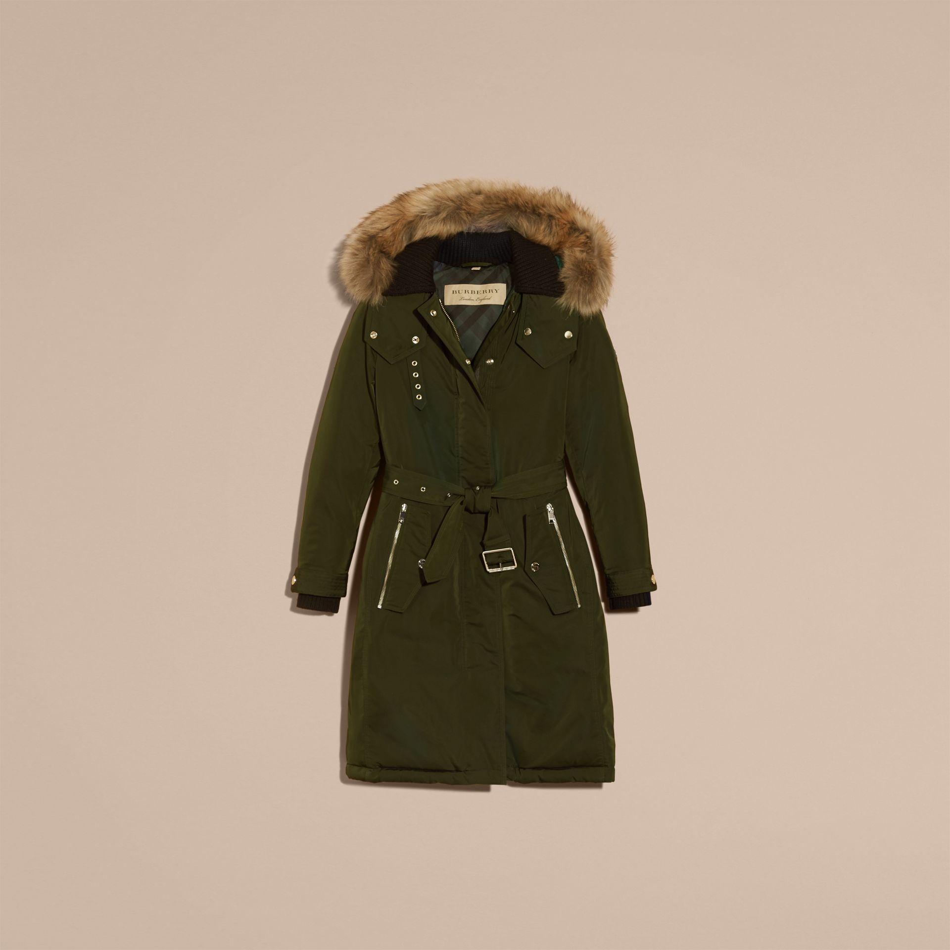 Down-filled Parka Coat with Detachable Fur Trim in Dark Cedar Green - Women | Burberry United States - gallery image 4