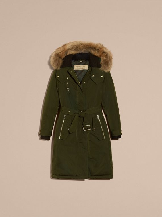 Down-filled Parka Coat with Detachable Fur Trim in Dark Cedar Green - Women | Burberry - cell image 3