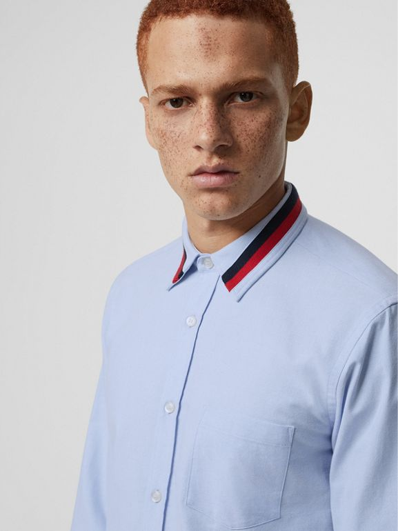 Knitted Detail Cotton Oxford Shirt in Cornflower Blue - Men | Burberry United Kingdom - cell image 1