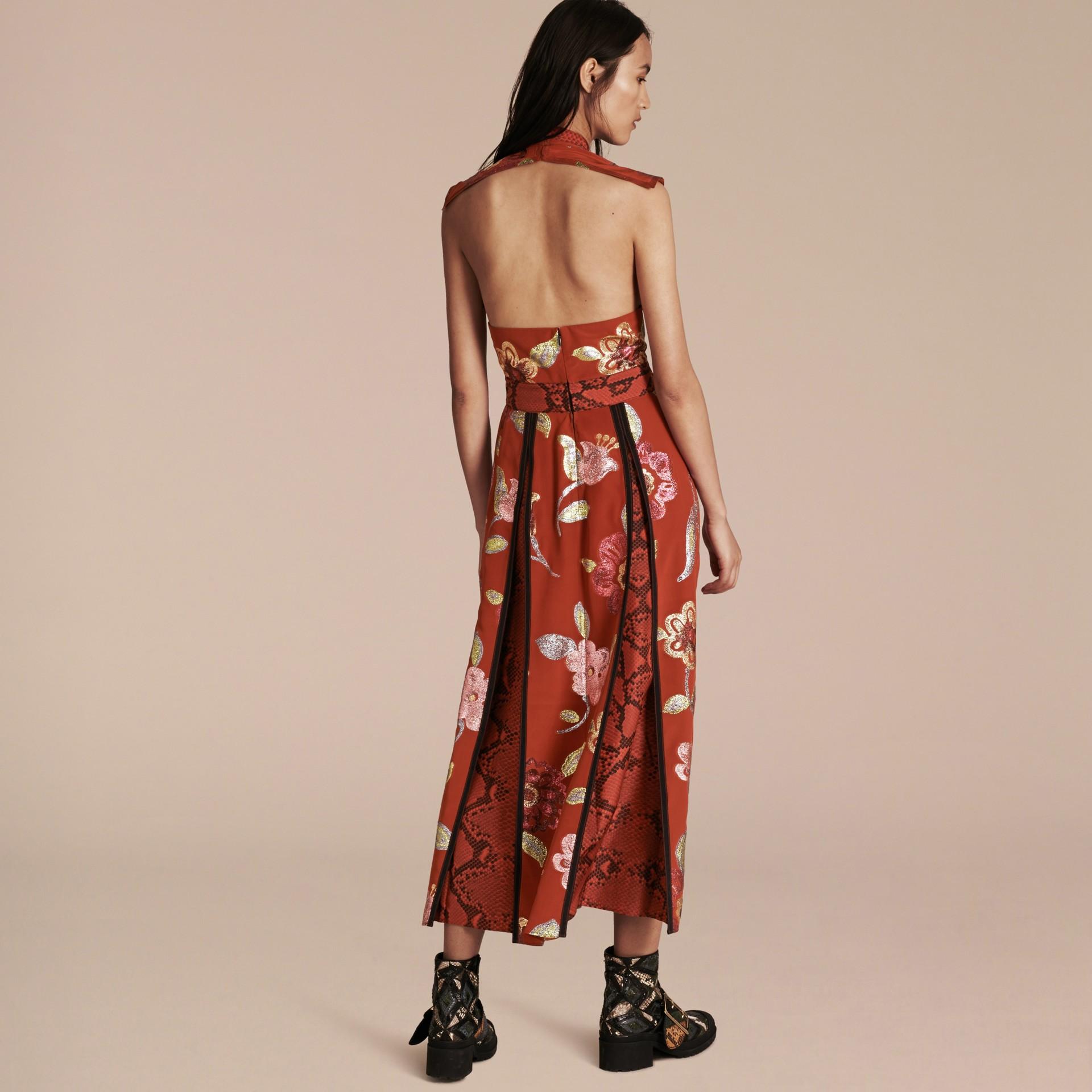 Burnt sienna Floral Fil Coupé Silk Dress - gallery image 3