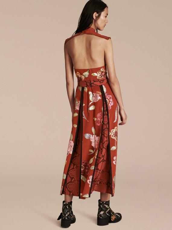 Burnt sienna Floral Fil Coupé Silk Dress - cell image 2