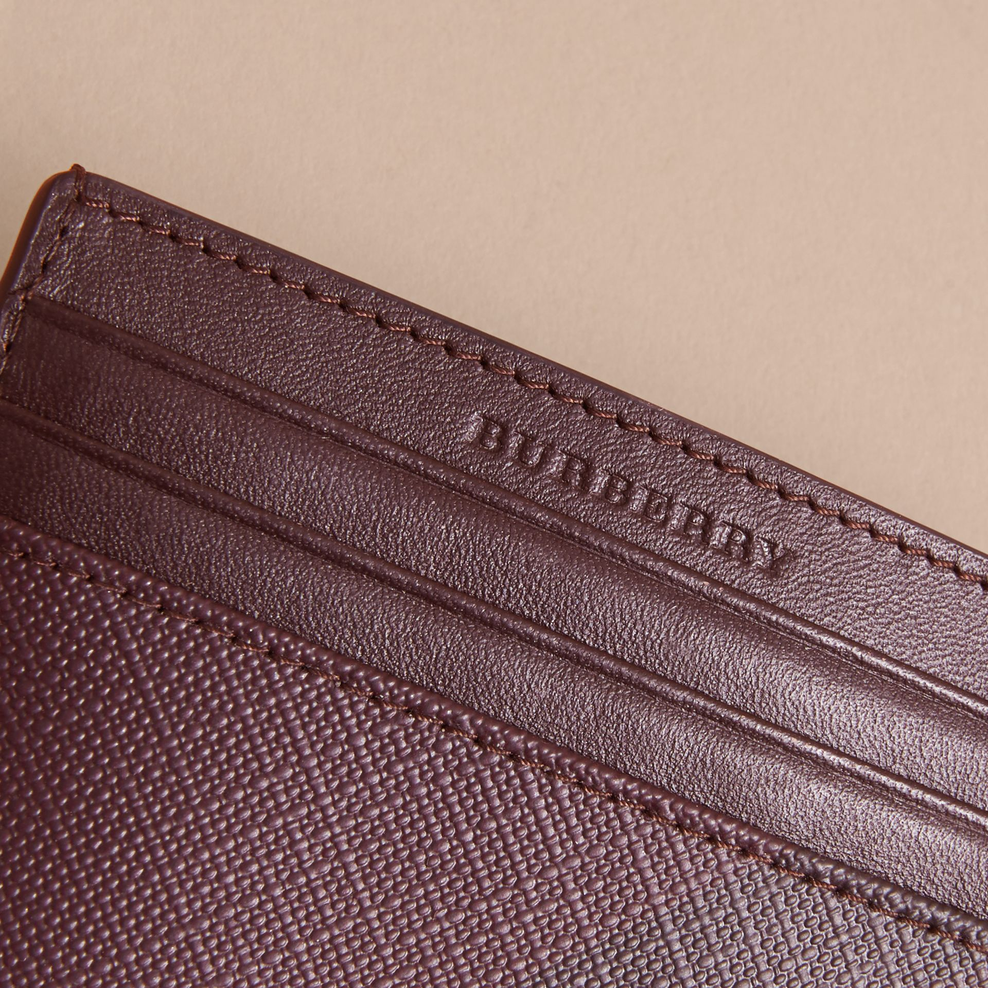 London Check Card Case in Deep Claret - Men | Burberry - gallery image 1