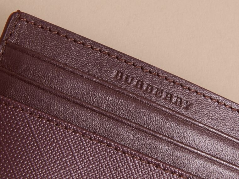 London Check Card Case in Deep Claret - Men | Burberry - cell image 1