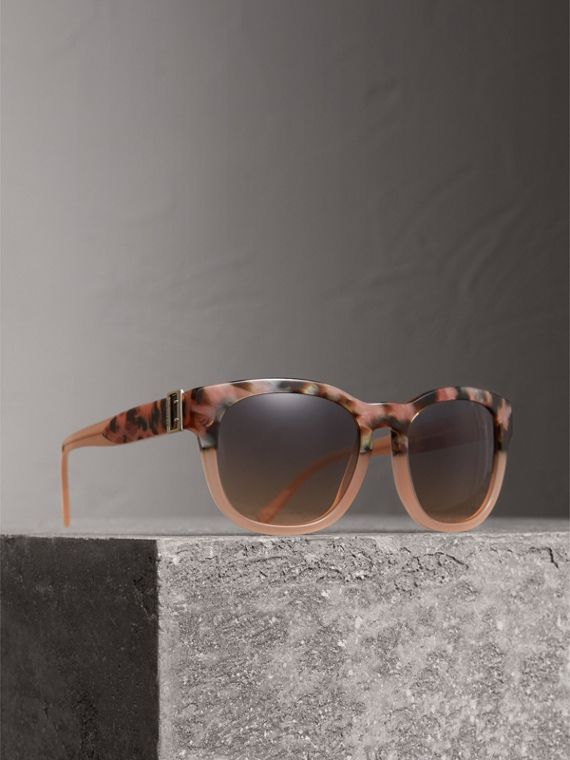 Buckle Detail Square Frame Sunglasses in Nude