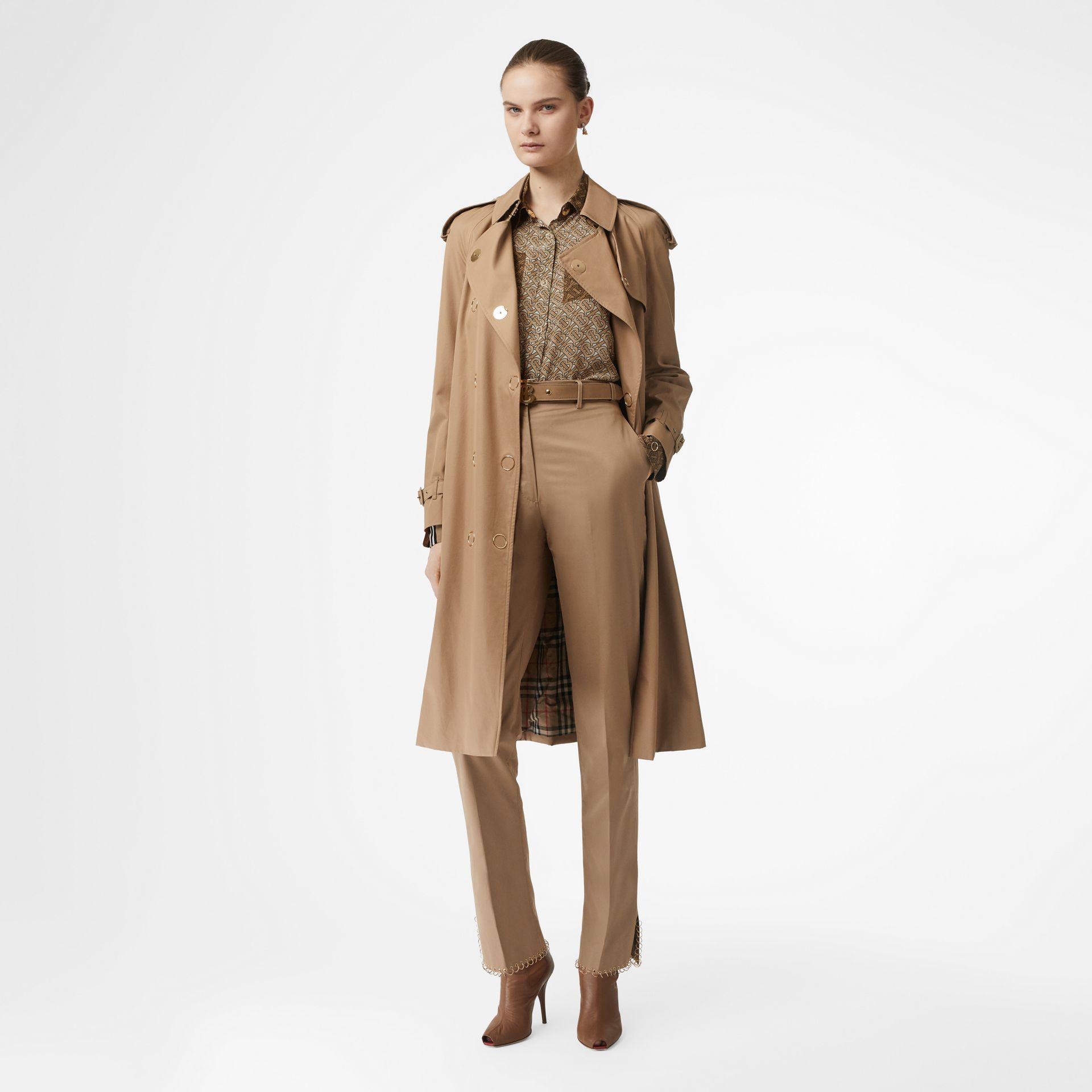 Two-tone Monogram Print Silk Oversized Shirt in Light Camel - Women | Burberry Australia - gallery image 5