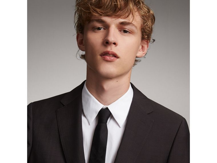 Slim Cut Check Silk Tie in Black - Men | Burberry Canada - cell image 1