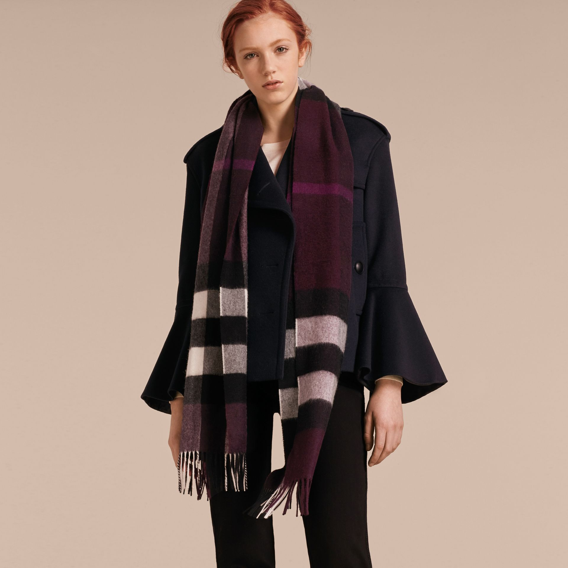 The Large Classic Cashmere Scarf in Check Aubergine - gallery image 3
