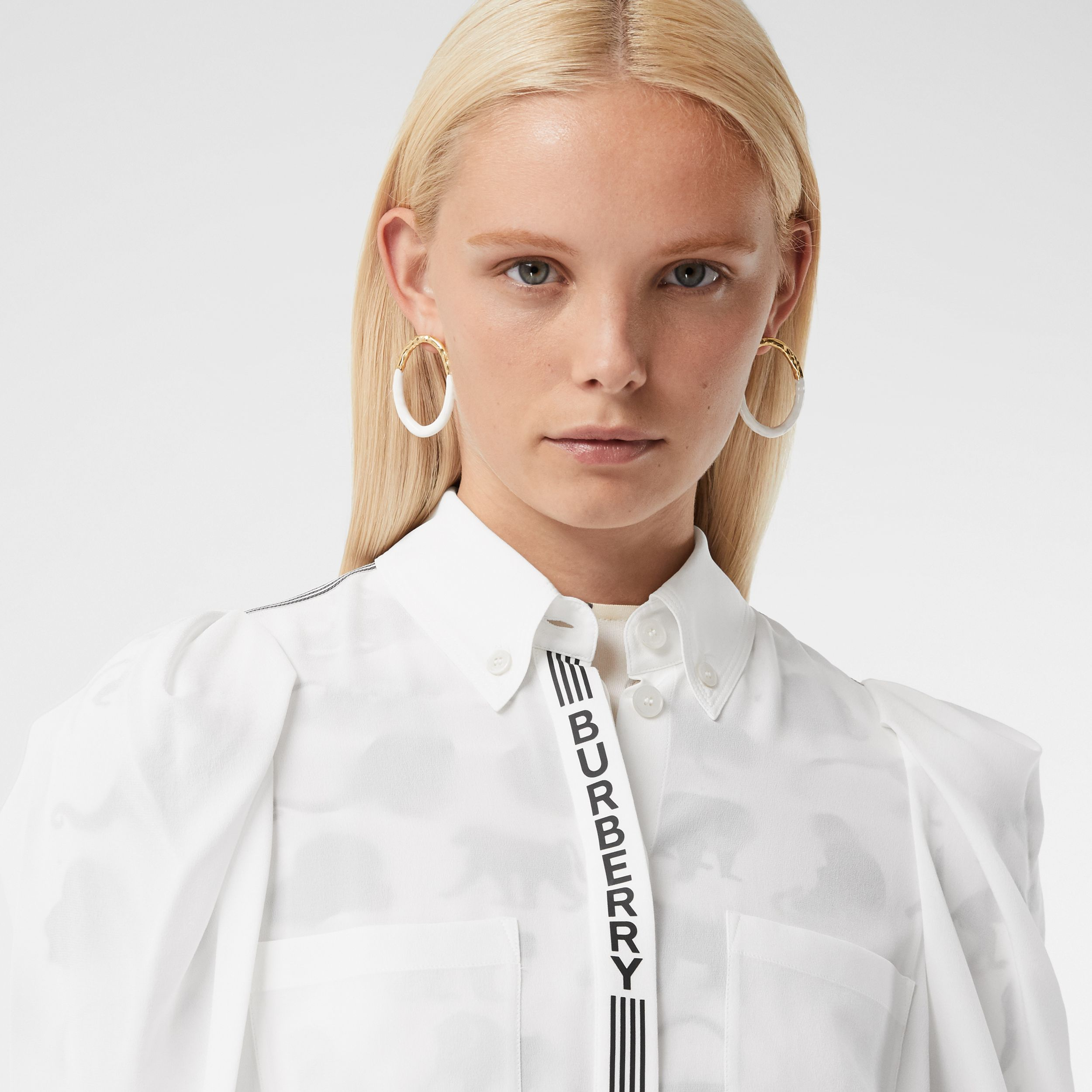 Logo Print Silk Crepe De Chine Shirt in White - Women | Burberry United Kingdom - 2