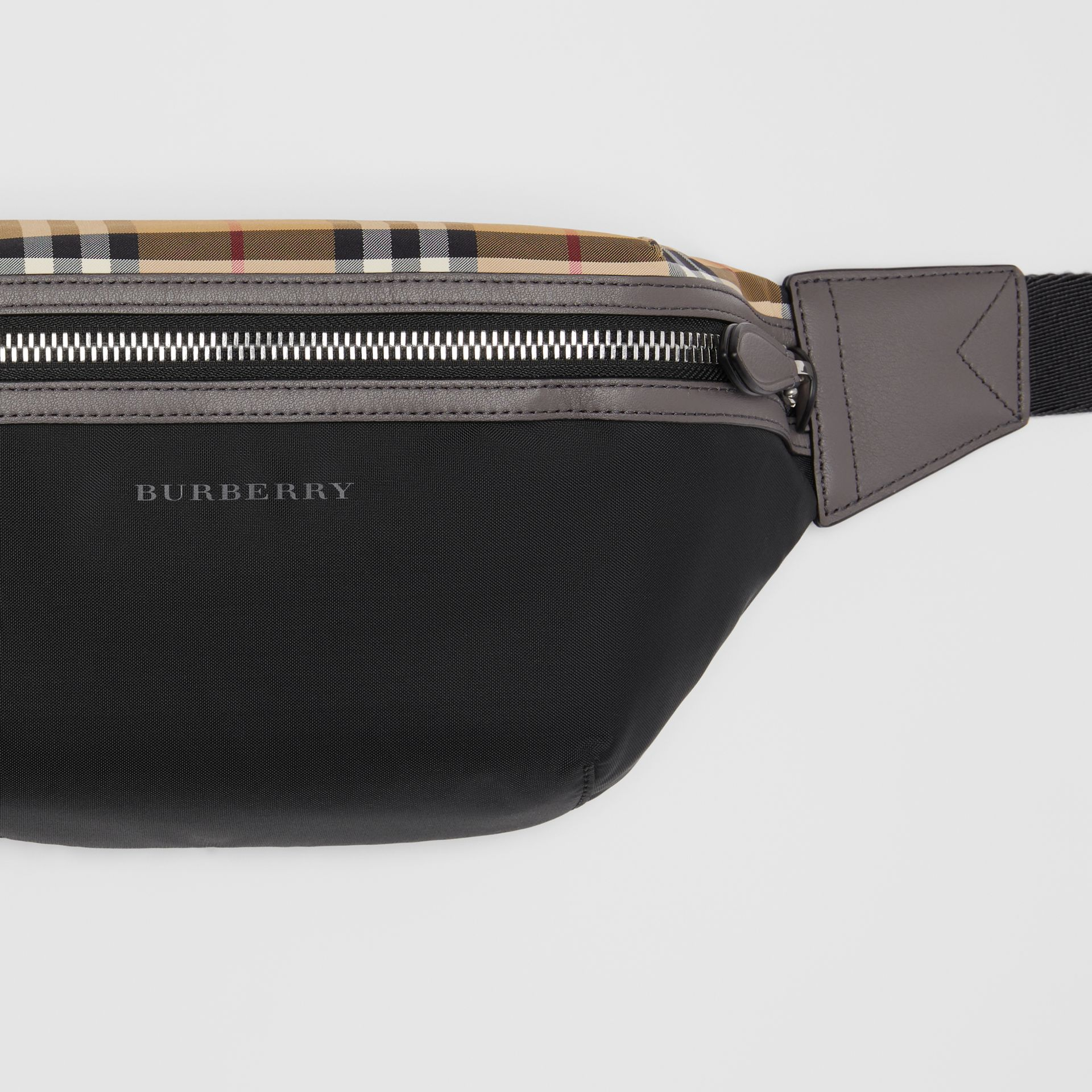 Medium Vintage Check and Nylon Bum Bag in Black | Burberry - gallery image 1