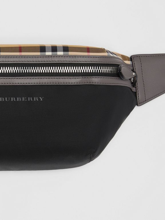 Medium Vintage Check and Nylon Bum Bag in Black | Burberry Australia - cell image 1