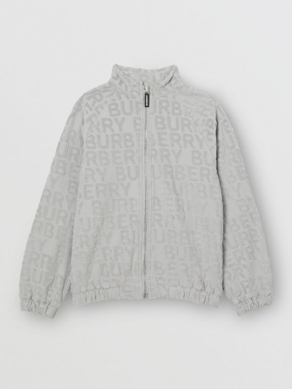 Logo Towelling Jacket in Pale Grey
