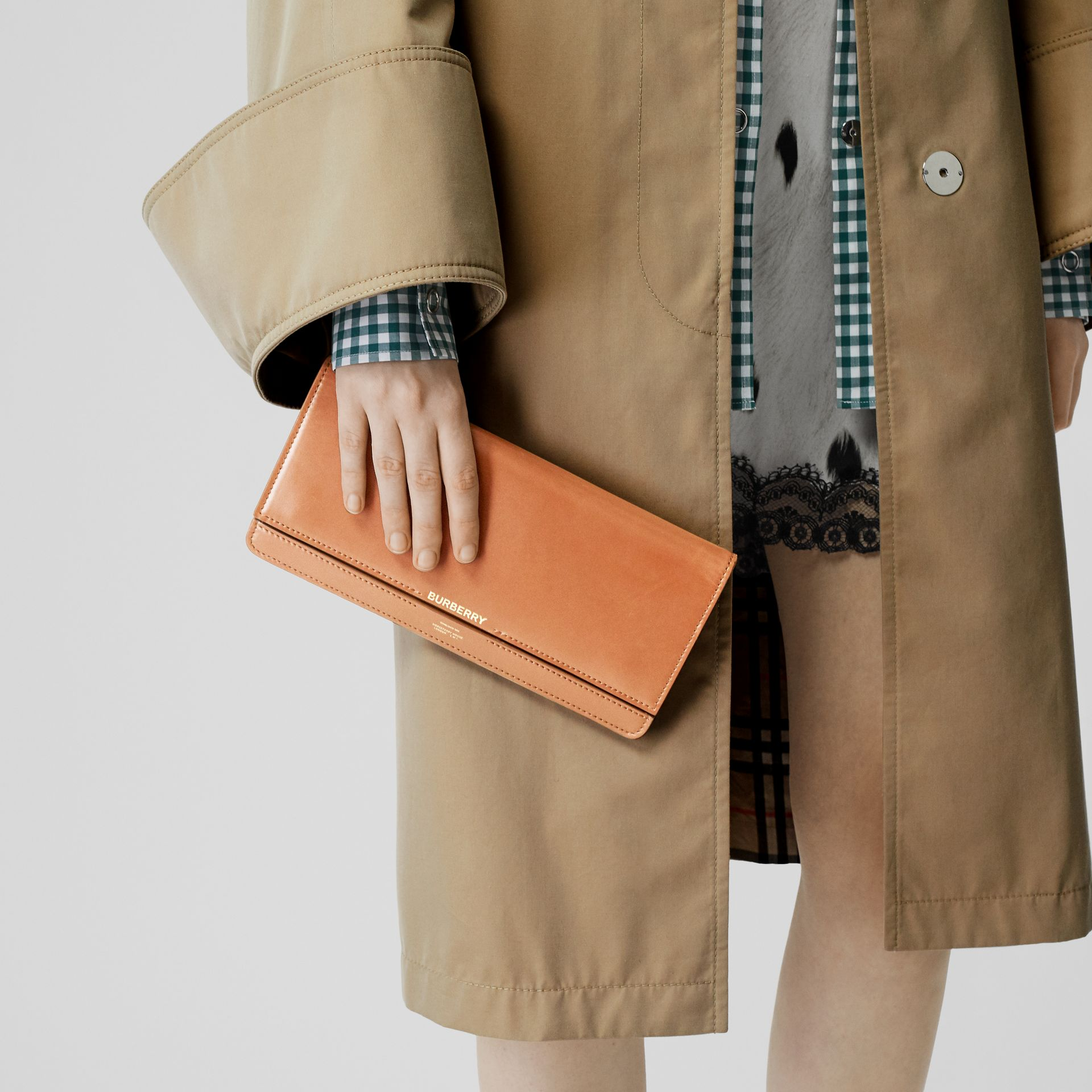 Horseferry Print Leather Bag with Detachable Strap in Nutmeg - Women | Burberry Hong Kong - gallery image 2