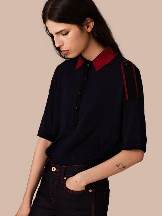 Epaulette Detail Wool Polo Shirt