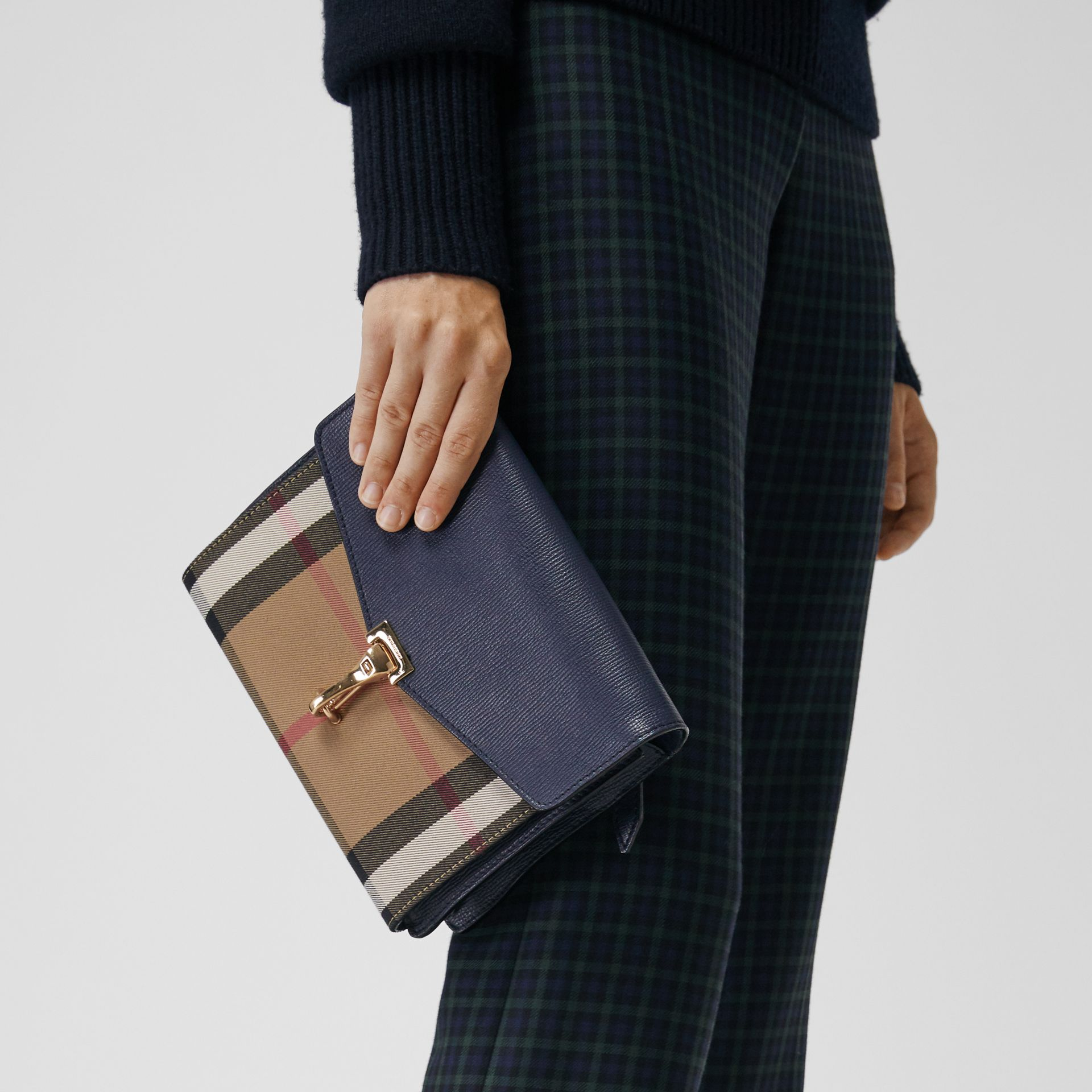 Small Leather and House Check Crossbody Bag in Ink Blue - Women | Burberry - gallery image 3