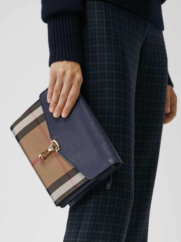 Small Leather and House Check Crossbody Bag in Ink Blue - Women | Burberry Hong Kong - cell image 3