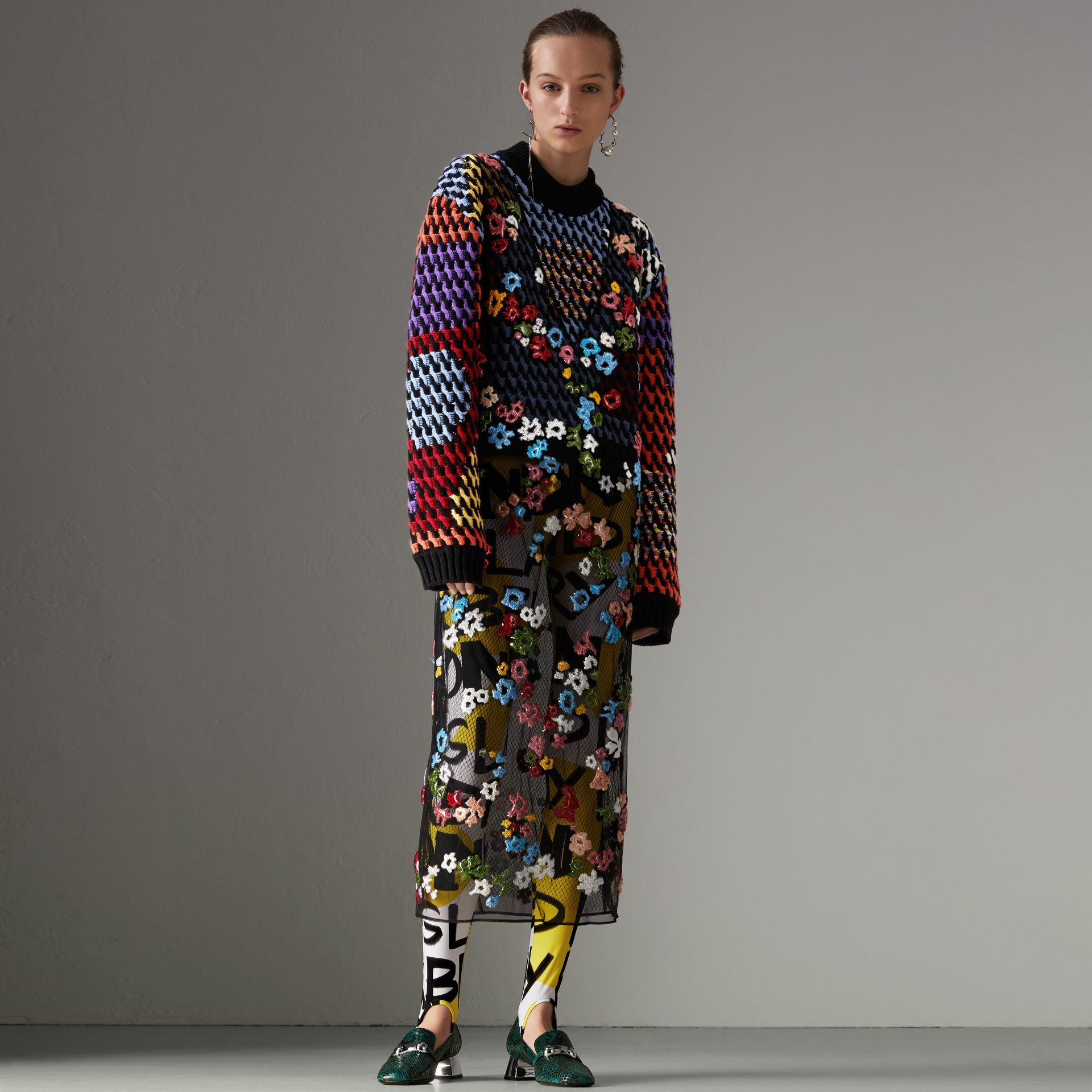 Graffiti Print Leggings in Bright Yellow - Women | Burberry - gallery image 0