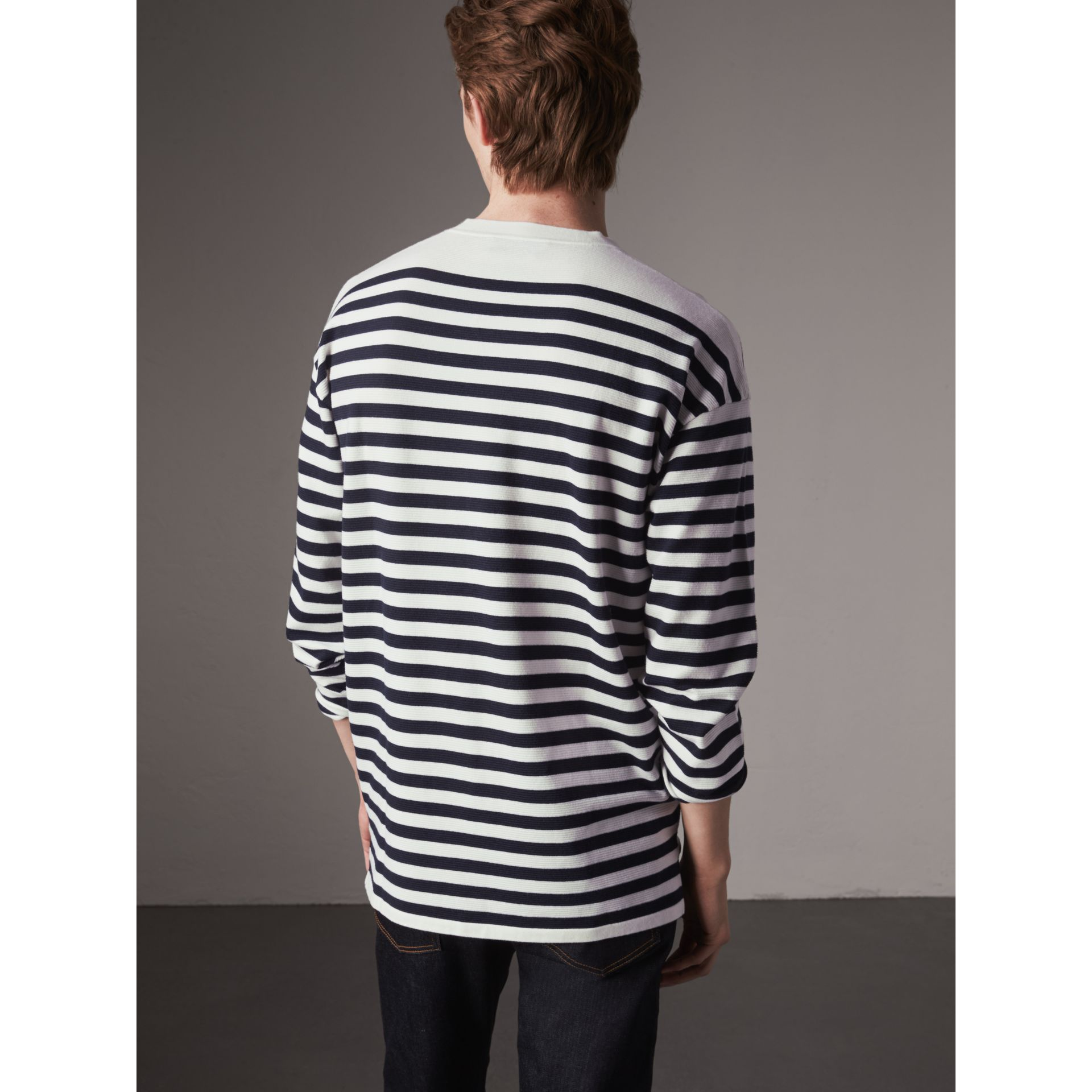 Breton Stripe Merino Wool Silk Blend Top in Navy - Men | Burberry - gallery image 2