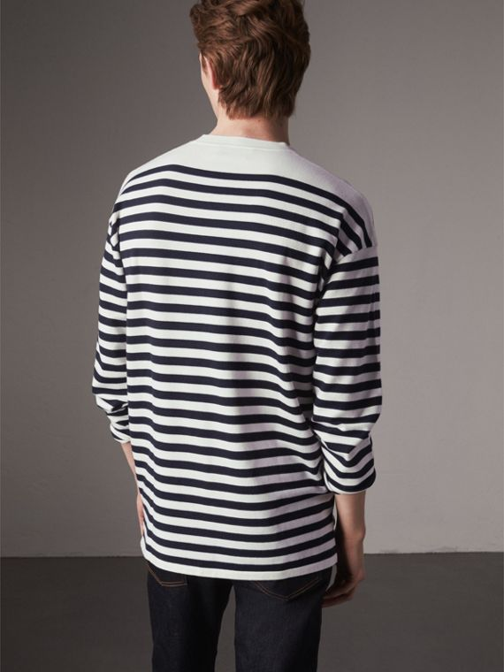 Breton Stripe Merino Wool Silk Blend Top in Navy - Men | Burberry - cell image 2