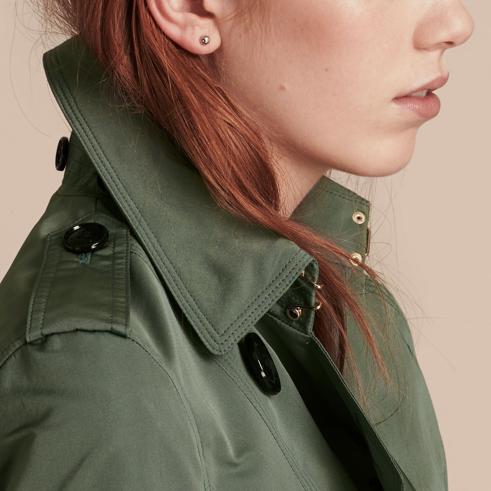 Eucalyptus green Showerproof Taffeta Trench Jacket with Detachable Hood Eucalyptus Green - gallery image 5