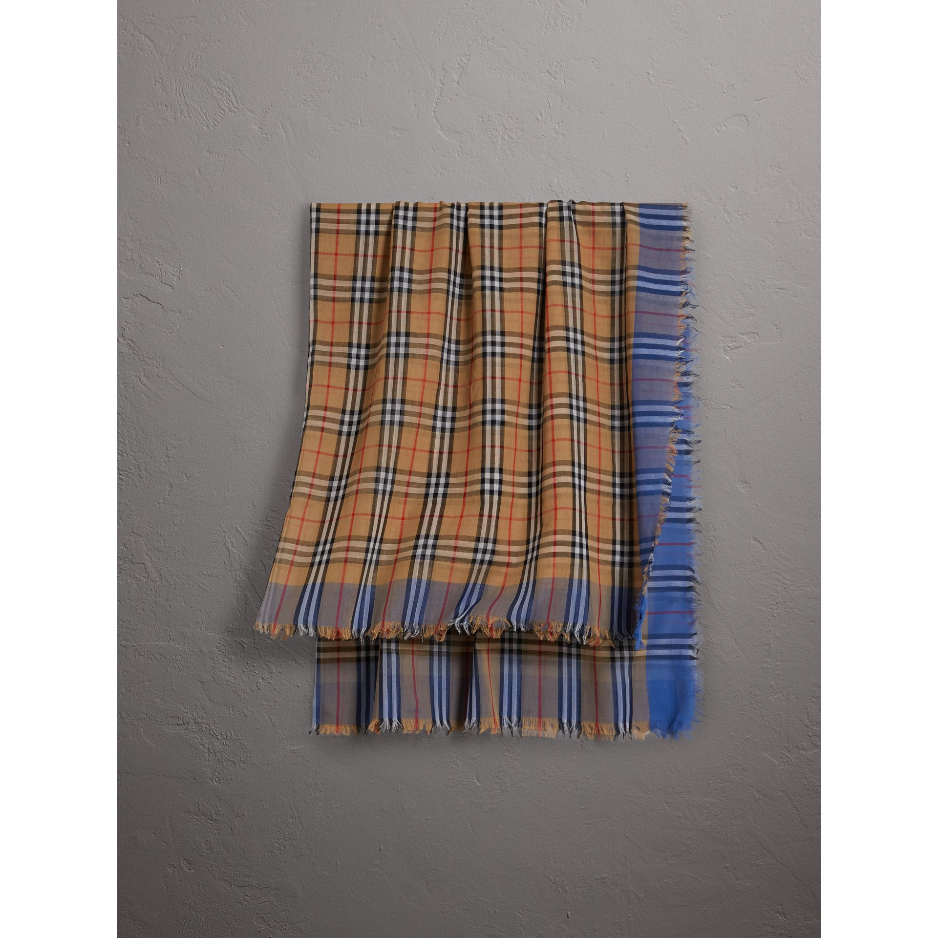Two-tone Vintage Check Cotton Square Scarf in Azure Blue | Burberry - gallery image 0