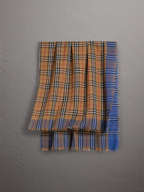 Two-tone Vintage Check Cotton Square Scarf in Azure Blue
