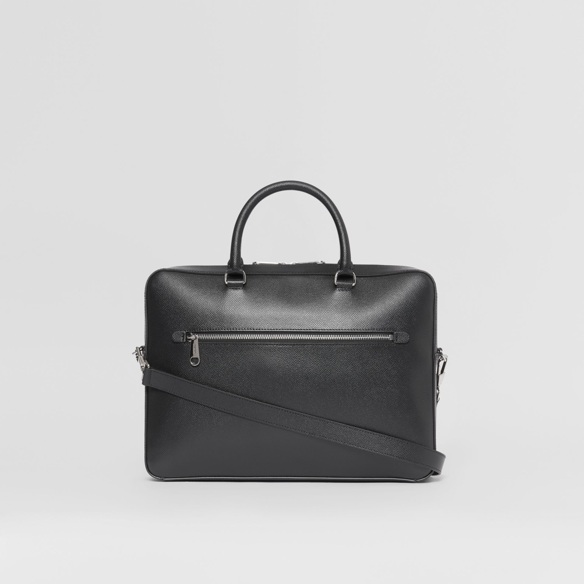 Grainy Leather Briefcase in Black - Men | Burberry - gallery image 7
