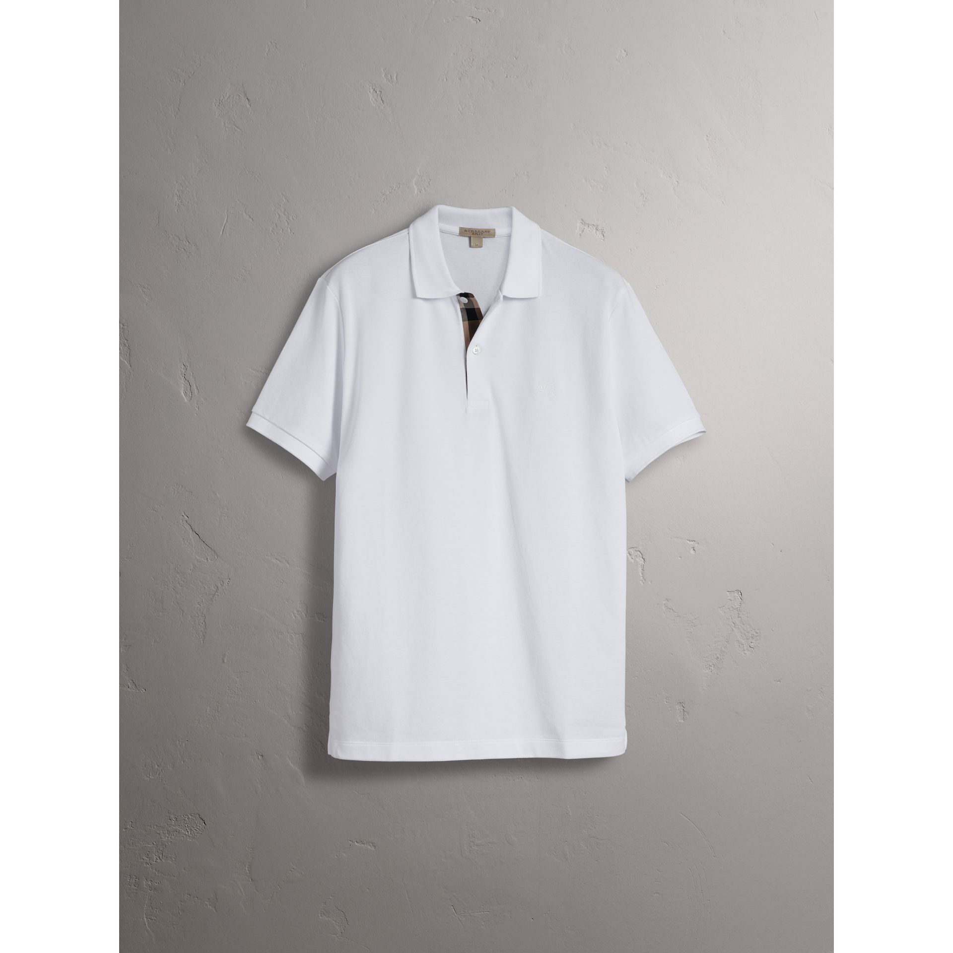 Check Placket Cotton Piqué Polo Shirt in White - Men | Burberry - gallery image 3