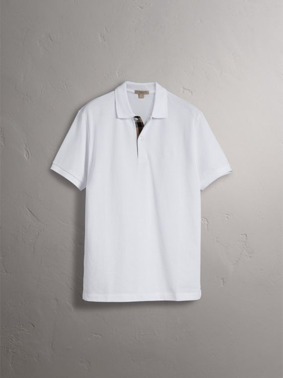 Check Placket Cotton Piqué Polo Shirt in White - Men | Burberry Hong Kong - cell image 3