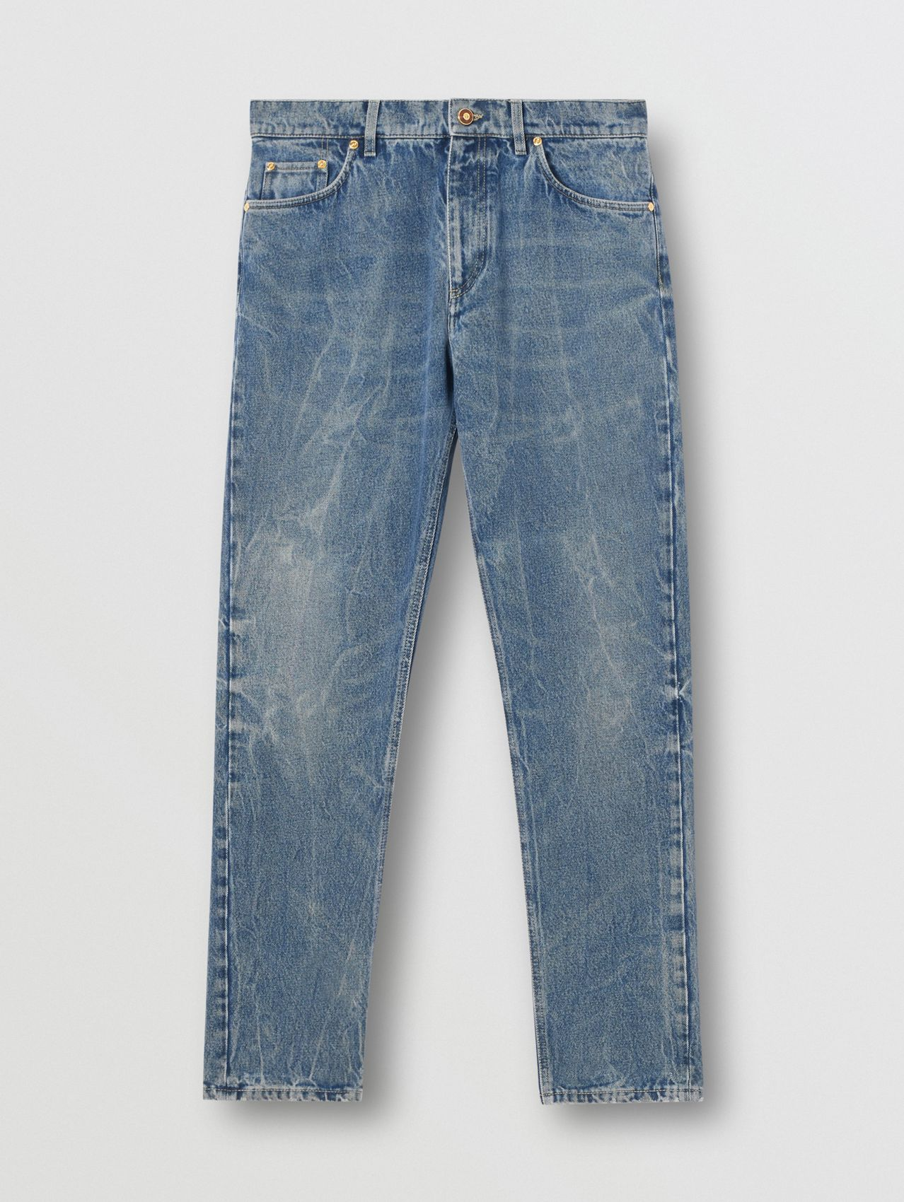 Straight Fit Distressed Denim Jeans in Mid Indigo Blue