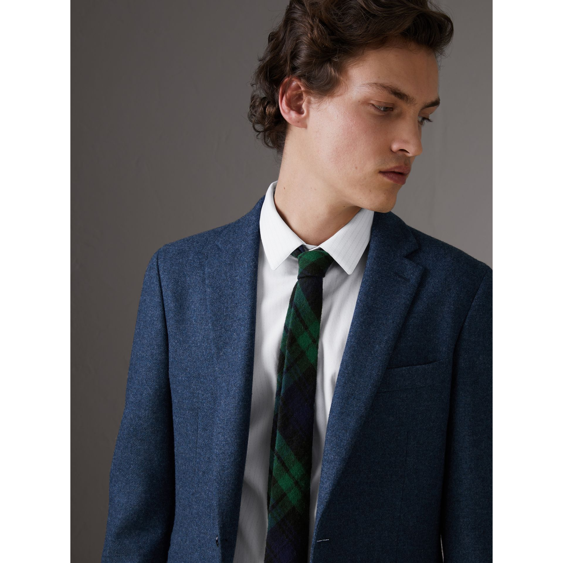 Slim Cut Tartan Wool Flannel Tie in Navy - Men | Burberry - gallery image 2
