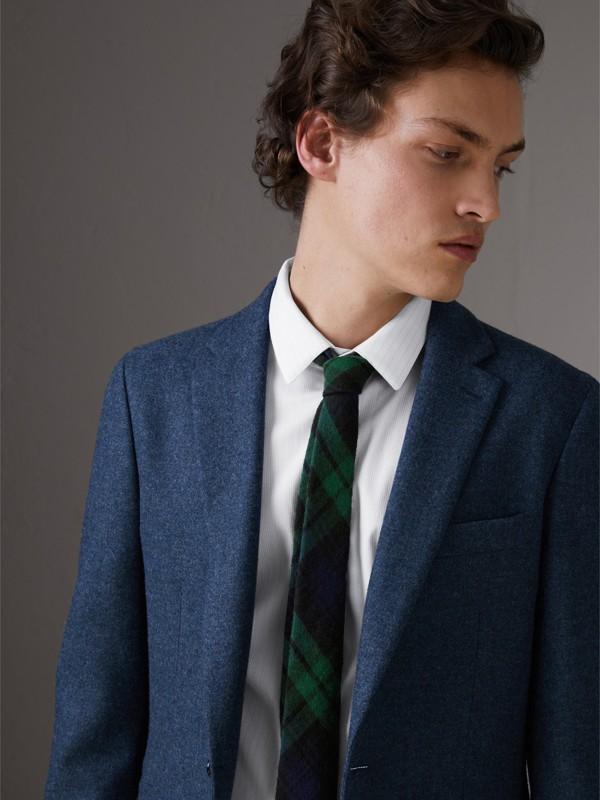Gravata slim de flanela de lã com estampa xadrez tartan (Azul Marinho) - Homens | Burberry - cell image 2
