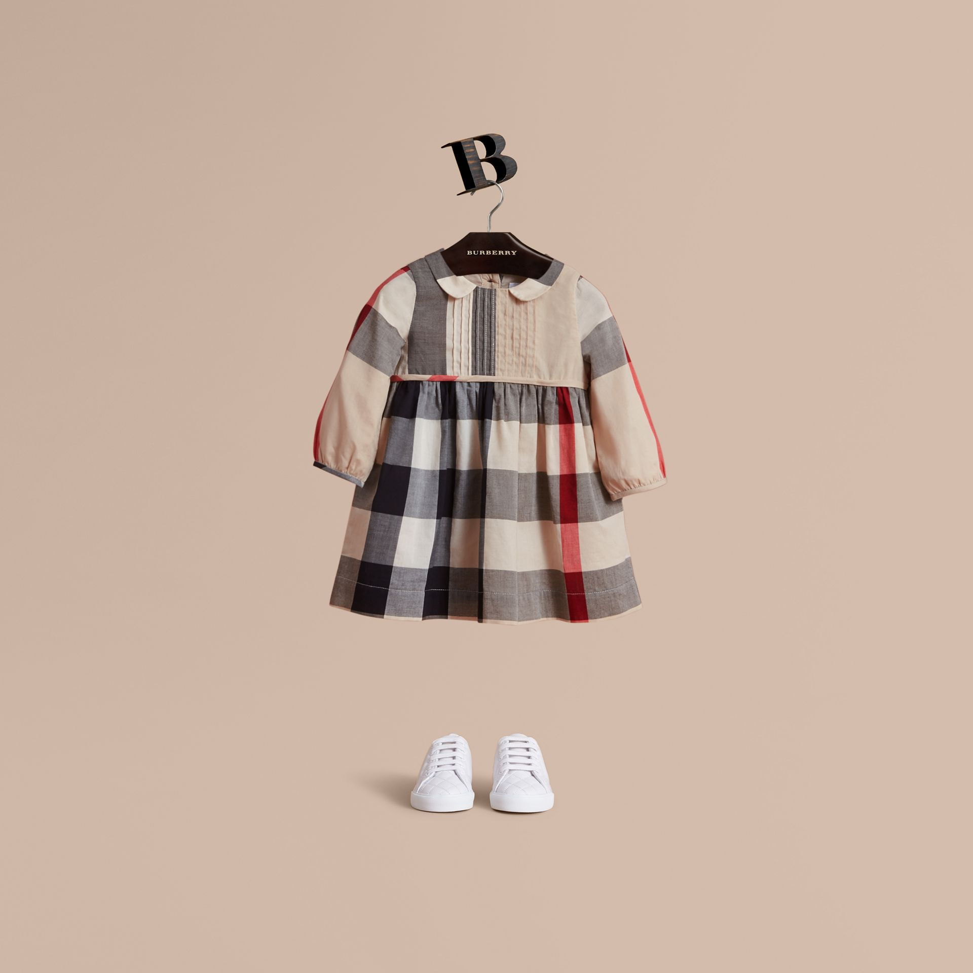 Long-sleeve Check Pintuck Bib Cotton Dress in New Classic | Burberry Hong Kong - gallery image 1