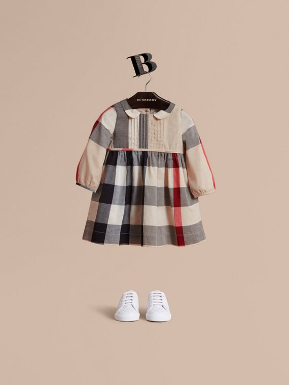 Long-sleeve Check Pintuck Bib Cotton Dress in New Classic