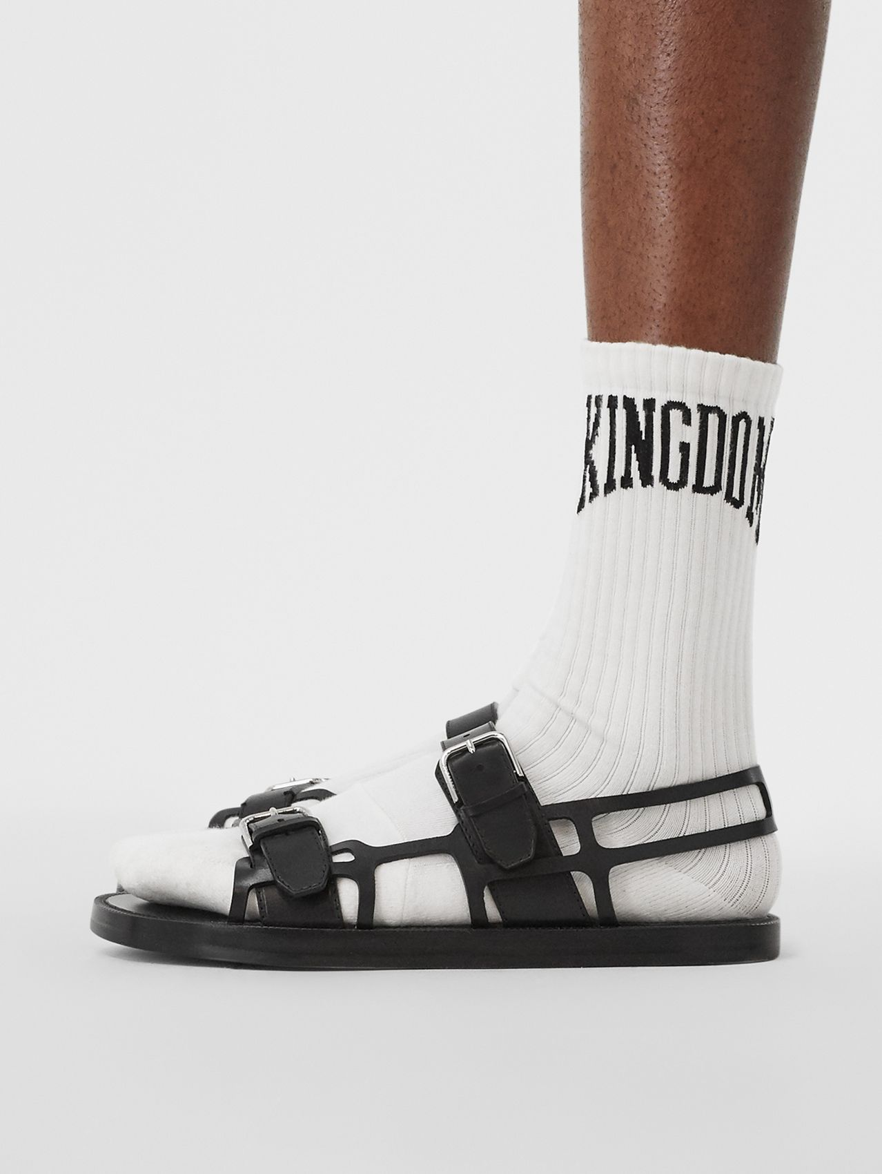 Leather Webb Sandals (Black)