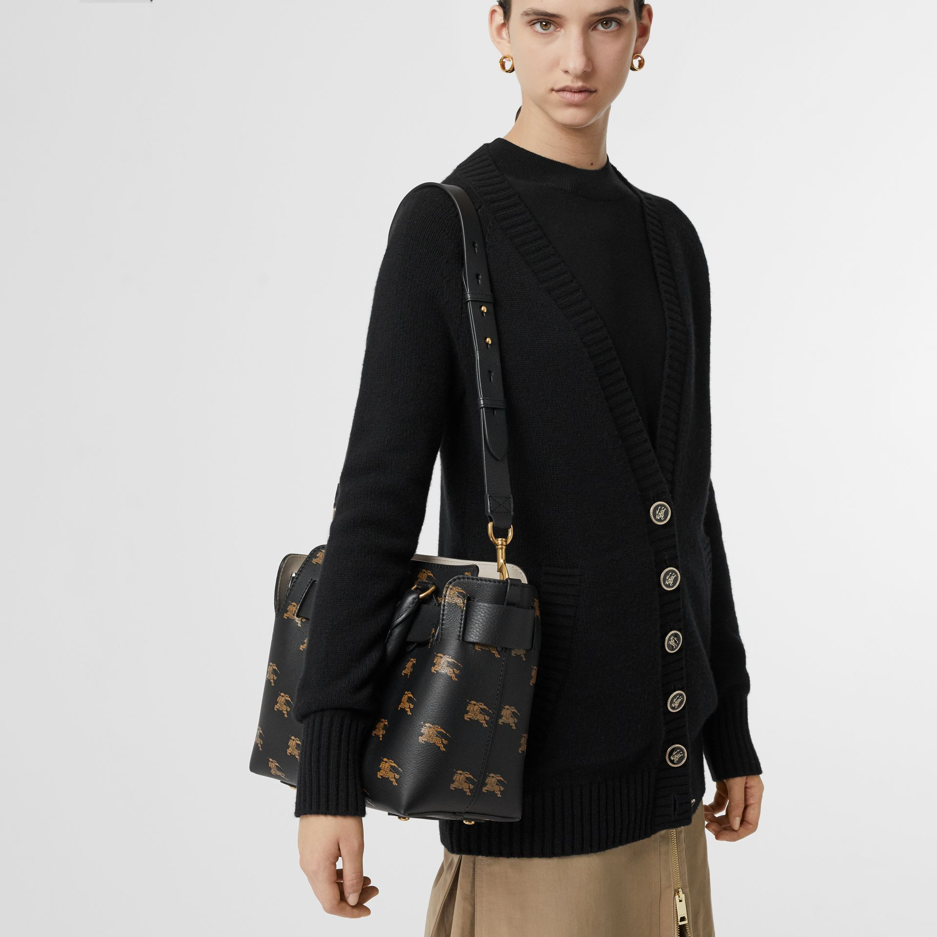 The Small Equestrian Knight Leather Belt Bag in Black - Women | Burberry United Kingdom - gallery image 3
