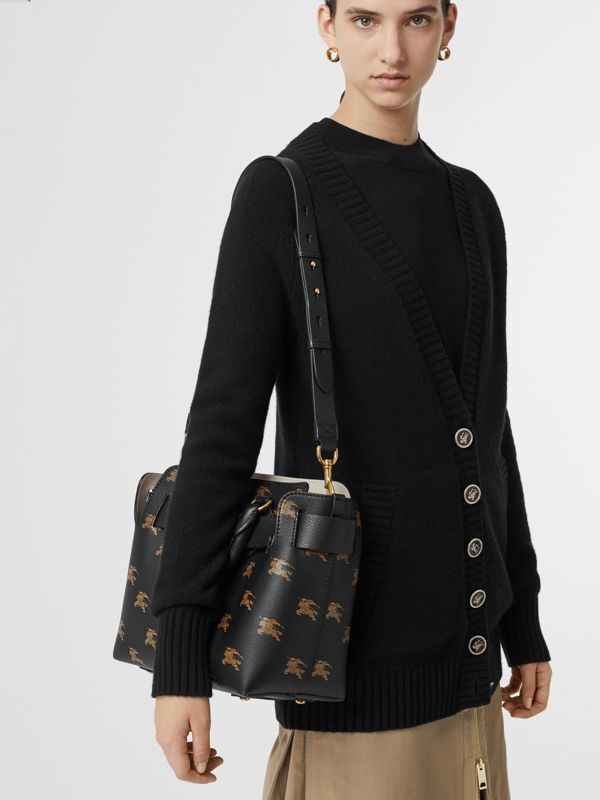 The Small Equestrian Knight Leather Belt Bag in Black - Women | Burberry Singapore - cell image 3