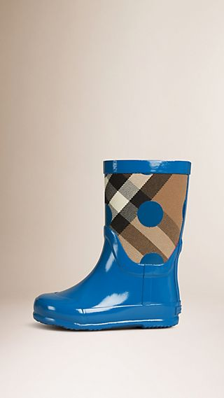 Dot Print House Check Rain Boots
