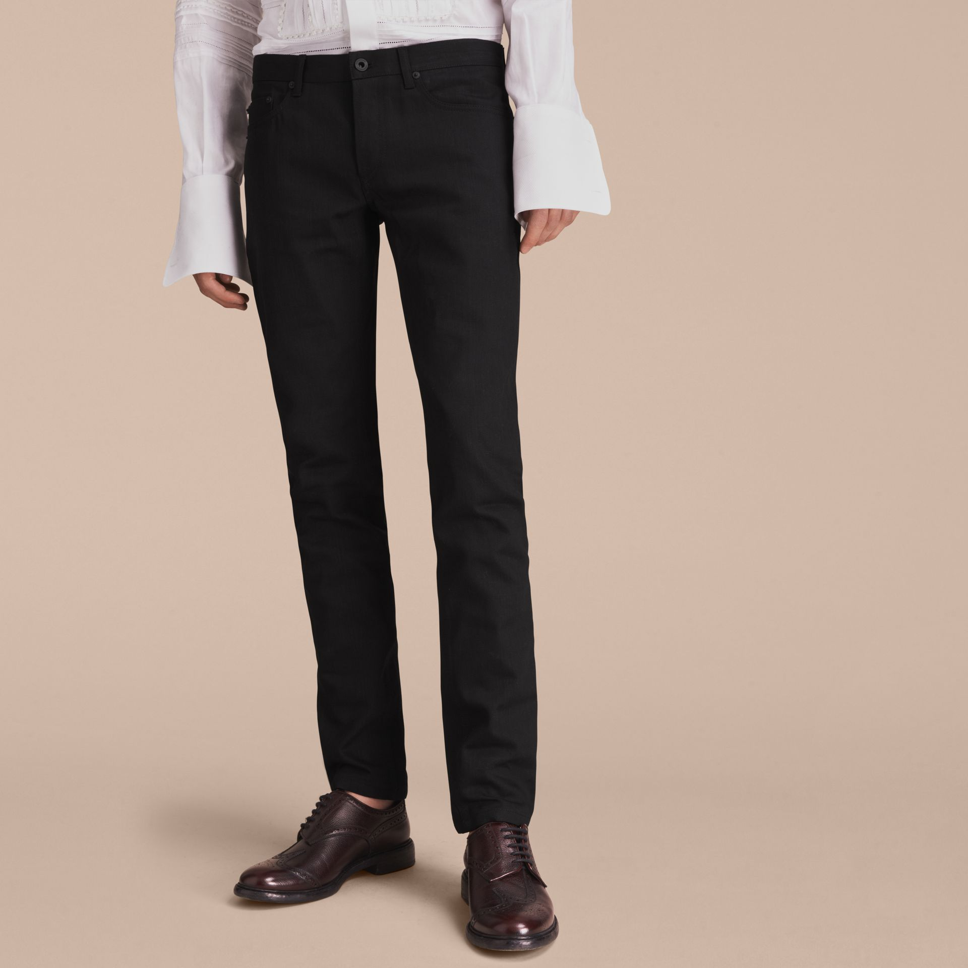 Jean slim en denim japonais (Noir) - Homme | Burberry - photo de la galerie 6