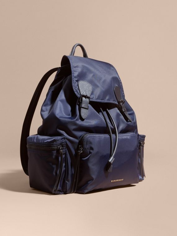 The Extra Large Rucksack in Technical Nylon and Leather Ink Blue