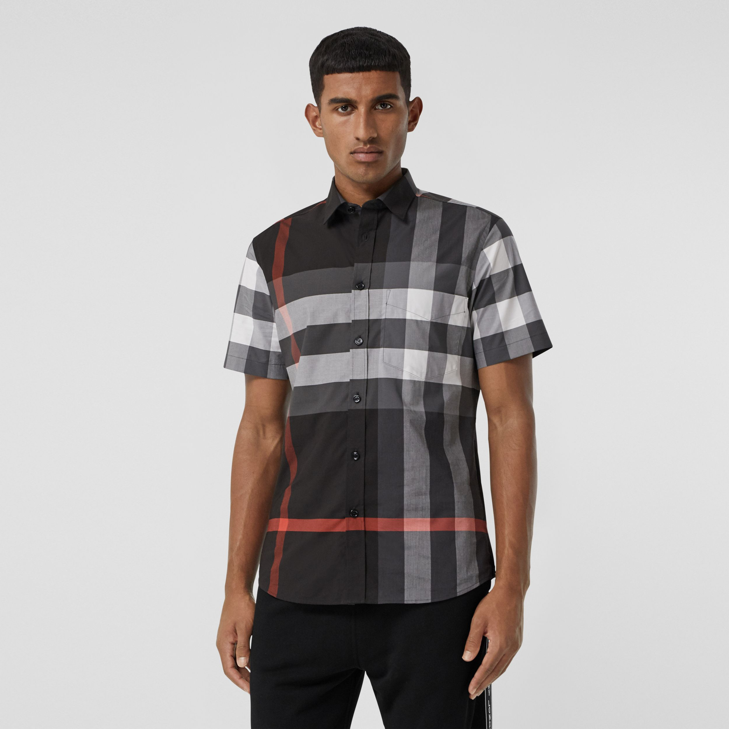 Short-sleeve Check Stretch Cotton Poplin Shirt - Men | Burberry - 1